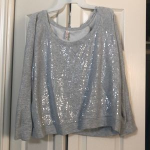 Jrs womens xl sequin detail gray sweater